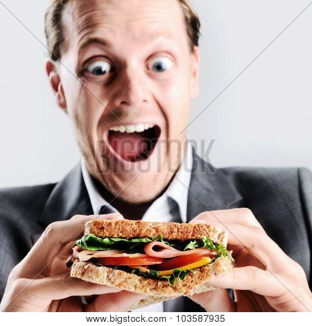 Funny humorous man eating a sandwich with exaggerated wide eye comical expression. with pixelated effect for pop art style