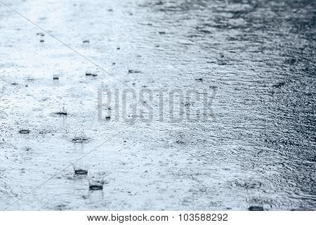 Raindrops Splashing On Pavement