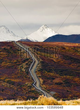 Oil Transport Alaska Pipeline Cuts Across Rugged Mountain Landscape