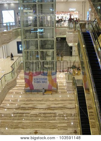 The mall at New Century Global Center in Chengdu, China