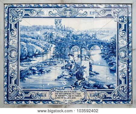 Panel Of Traditional Portuguese Tiles Hand-painted Blue And White