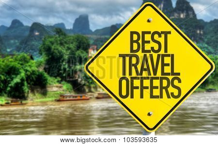 Best Travel Offers sign with exotic background