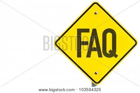 FAQ sign isolated on white background