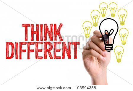 Hand with marker writing: Think Different