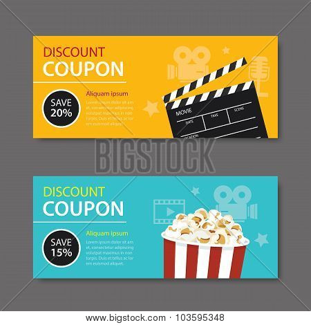 Movie Coupon Flat Design
