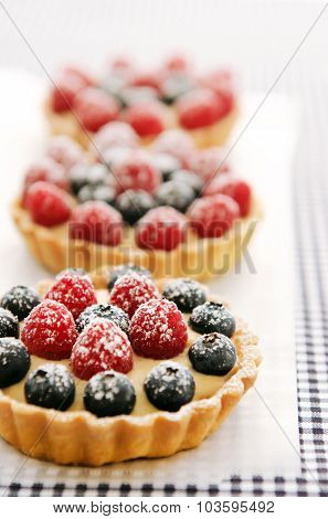 Richly coloured berry desserts sprinkled with icing sugar on baking paper and a checkered cloth