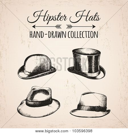 Hipster fashion vintage elements hand-drawn mega collection. Hipster hats,  bowler, fedoras.