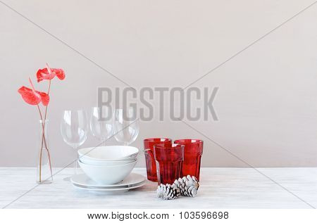 Homeware crockery white and red on table for christmas decorative display, plenty of copy space
