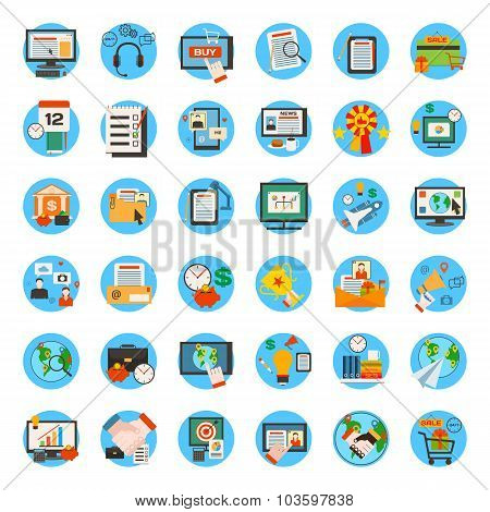 Mega collection of business, marketing, office and seo optimisation icons. Flat style design.