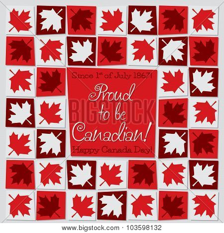 Mosaic Canada Day Card In Vector Format.