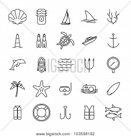Diving and water activities icons outline icons set. Wind surfing, pool, swimming, surfboarding, kay