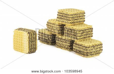 Chocolate wafer cubes with isolated white background