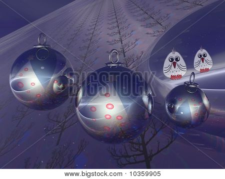 Christmas baubles and birds