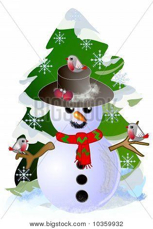 Snowman with birdies