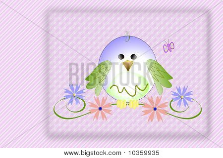 Baby bird on a pink background