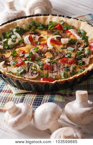 French Vegetable Tart With Mushrooms Close-up. Vertical
