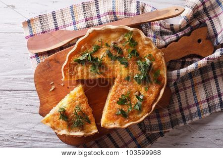 French Quiche Lorraine On The Table. Horizontal Top View