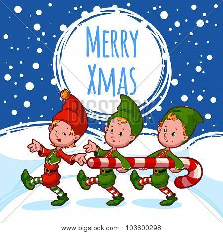 Christmas Card With Three Elves With Candy