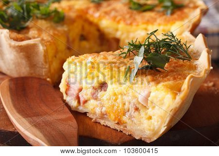 Piece Of French Quiche Lorraine Macro. Horizontal