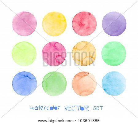 Set of pastel watercolor vector circles.