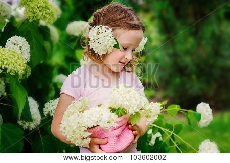 cute happy child girl playing with hydrangea flowers in summer garden near flowering bush