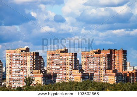 Heavy Low Blue Clouds Over Apartment Buildings