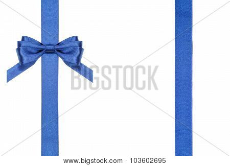 Blue Satin Bows And Ribbons Isolated - Set 15