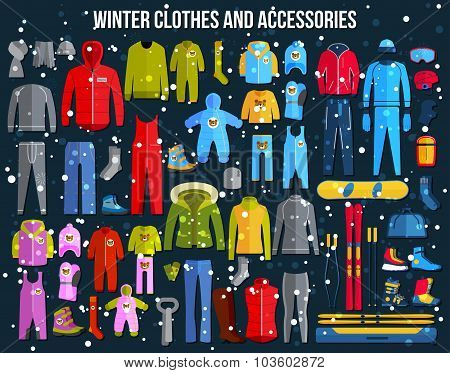 Big collection of cozy winter clothes and winter sport games accessories for women, men and children