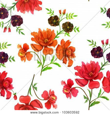 Retro-styled watercolor flowers seamless background pattern