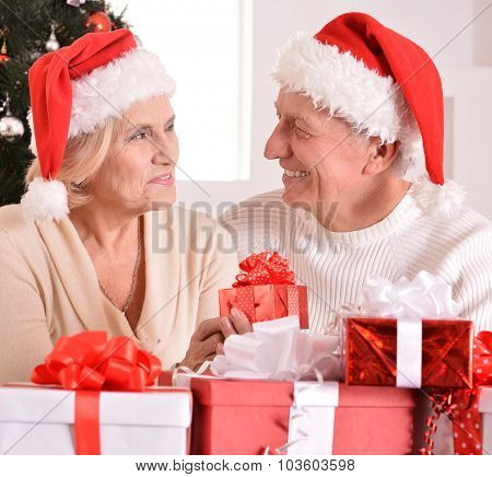 Amusing old couple at Christmas