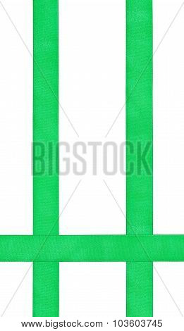 Three Crossing Green Satin Bands Isolated