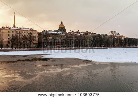 Views Of The River Neva And Winter Streets Of St. Petersburg