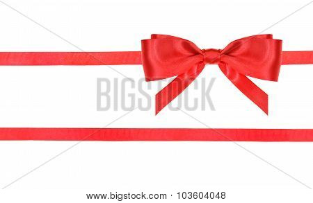 Red Satin Bow Knot And Ribbons On White - Set 22