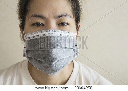 Sleepy Sick Woman Mask Flu Cold Health Concept
