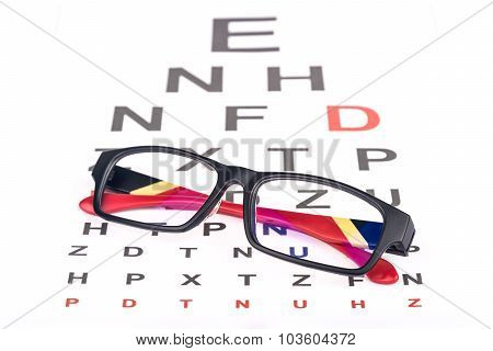 Eye Care Chart And Glasses