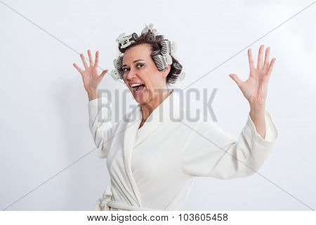 Woman In Bath Robe Standing With Open Arms
