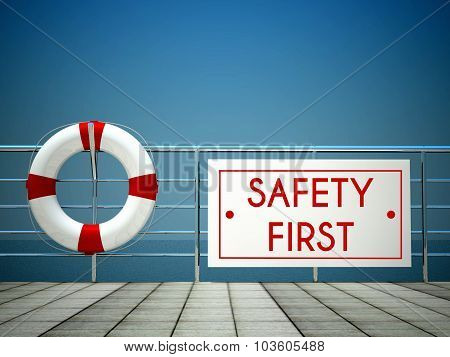 Safety First Sign At The Swimming Pool, Lifebuoy