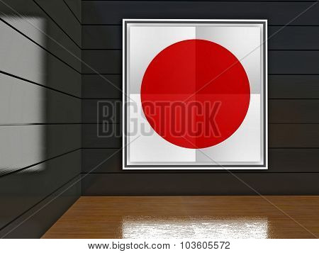 Poster With Red Circle On White Background Or Japanese Flag