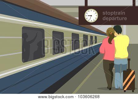Platform With Train