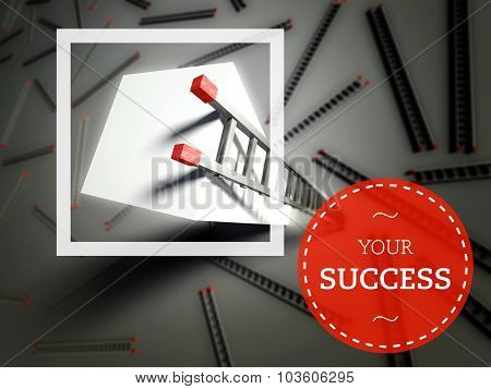 Your Success With Top Of Ladder, Business Concept