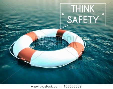 Think Safety Sign, Lifebuoy Rough Water Waves