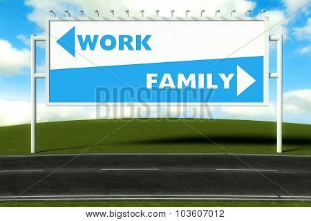 Conceptual Direction Signs Lead To Work And Family