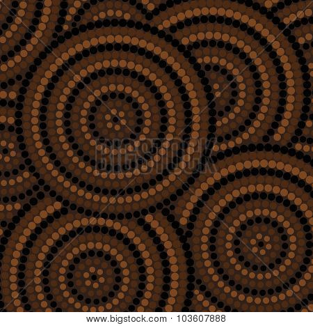 Abstract Aboriginal Dot Painting In Vector Format.