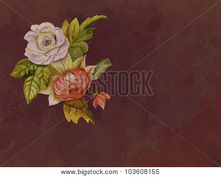 A vintage-styled watercolour drawing of a white and red roses on textured brown paper, toned