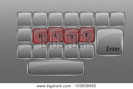 Vector Glass Keyboard With Sign Risk