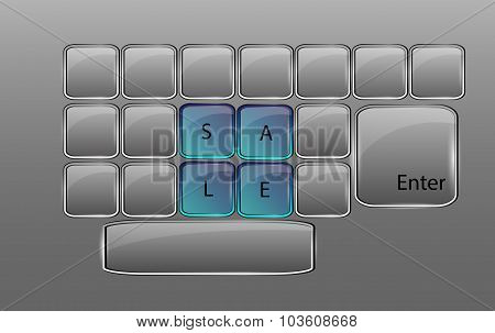 Vector Glass Keyboard With Sign Sale