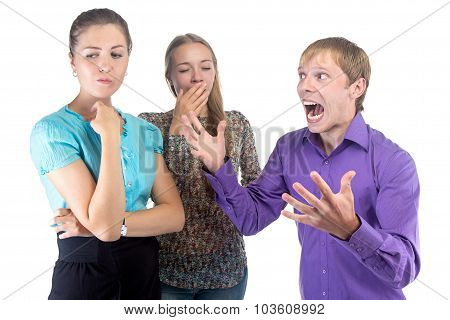 Speaking Young Man And Two Blond Women