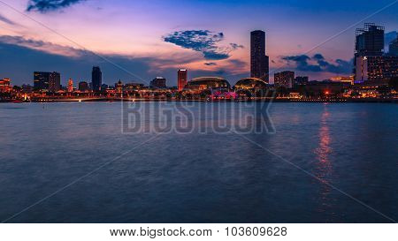 Financial District At Marina Bay, Singapore , Twilight