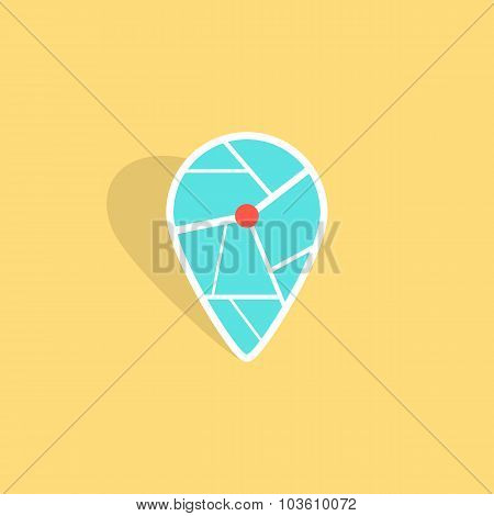 turquoise pin icon with shadow isolated on yellow background