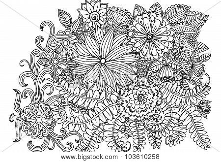Floral pattern in black and white